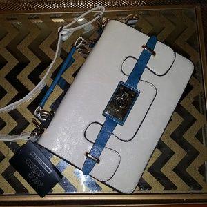 Handbags - Cross body purse white blue silver bag